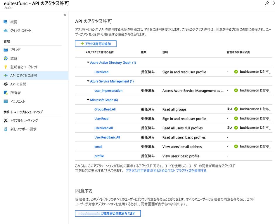 Azure FunctionsでAzure上のRBACを触ったりMS Graph APIを呼ん